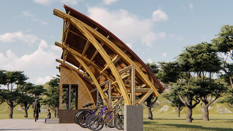 Estación Bici Parqueadero de bambú M1